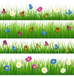 Green grass with flowers and butterflies Seamless vector image vector image
