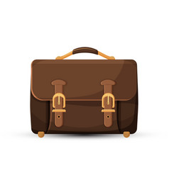 icon of brown leather briefcase isolated on white vector image