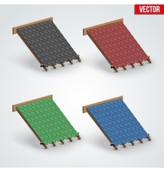 Icons bitumen shingles cover on roof vector