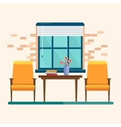 Interior blue window vector