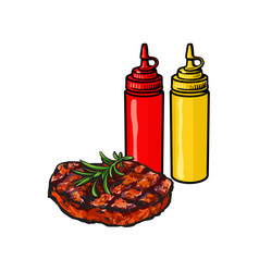 ketchup mustard and grilled roasted steak vector image vector image