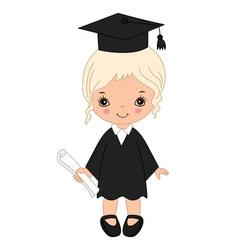 Little girl graduating vector