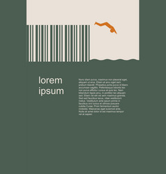 Man silhouette diving from bar code springboard vector