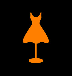 Mannequin with dress sign orange icon on black vector