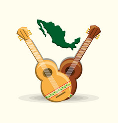 Mexican country map and guitars vector