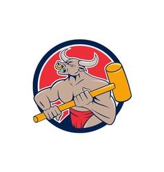 Minotaur wielding sledgehammer circle cartoon vector