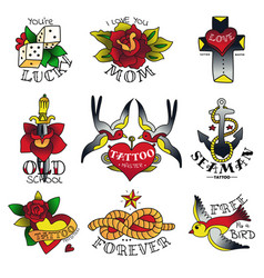 Old tattooing school emblems vector