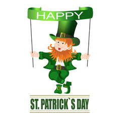 Patrick day cheerful leprechaun wishes of vector