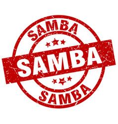 samba round red grunge stamp vector image vector image