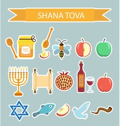 Set icons stickers on the Jewish New Year vector image vector image
