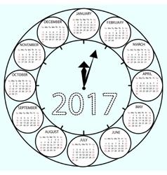 Simple calendar 2017 circles clock time year vector