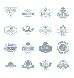 sport balls logo icons set simple style vector image