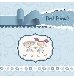 two little girls best friends vector image vector image