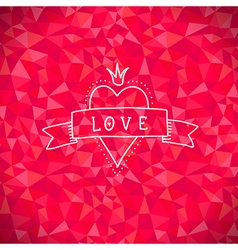 Valentine crystal love heart vector image vector image
