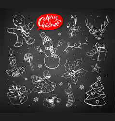 Vintage set of chalked christmas objects vector