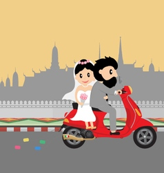 wedding couple on scooter vector image