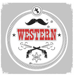 Western label with cowboy decotarion isolated on vector