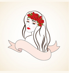 woman with red roses and ribbon vector image