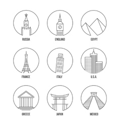 World landmark line art icons set vector image