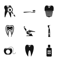 Dental clinic icons set simple style vector
