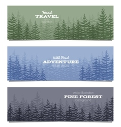 Forest horizon banners pine trees backgrounds vector