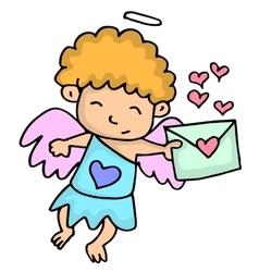 Romance cupid with latter cartoon vector