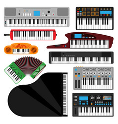 Keyboard musical instruments isolated classical vector