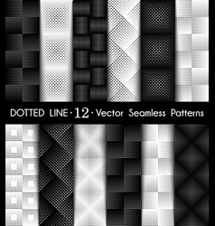 set dotted line geometric seamless pattern vector image