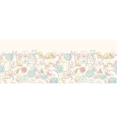 Cats among flowers horizontal seamless pattern vector image
