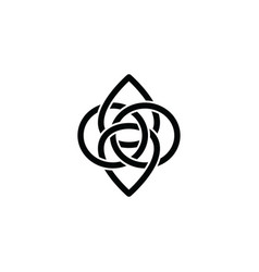 Overlapping line floral shape - celtic theme sign vector