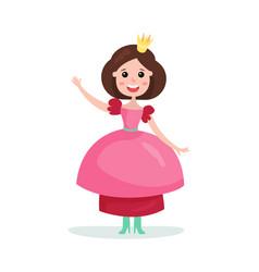 beautiful cartoon brunette princess girl character vector image