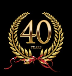 40 years anniversary laurel wreath vector