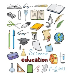 Science and education color icons vector