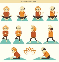 Old people yoga icons isolated vector