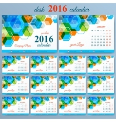 Template desk calendar 2016 years  week vector