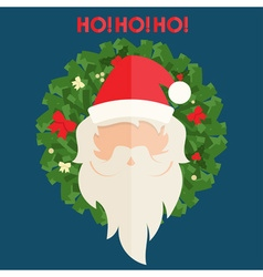 Flat design of santa claus and christmas wreath vector