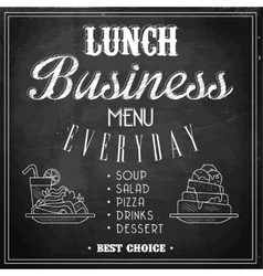Business lunch menu on a chalkboard vector
