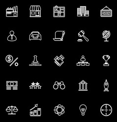 Franchise line icons on black background vector