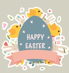 Happy easter cards with easter bunnies and easter vector