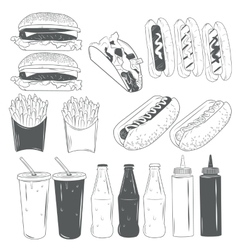 Set of fast food products isolated on white vector