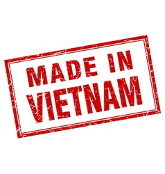 Vietnam red square grunge made in stamp vector
