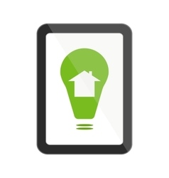 Tablet with smart house icon vector