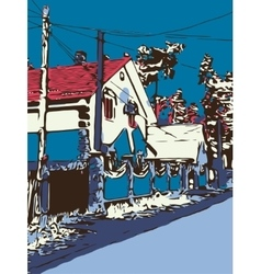 Ukrainian village graphic artwork with a road and vector image