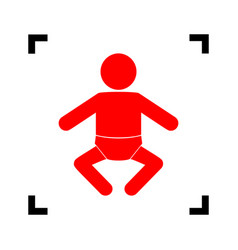 baby sign red icon inside vector image vector image