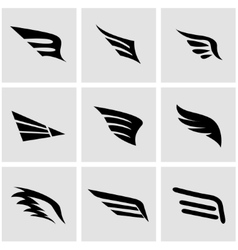 Black wing icon set vector