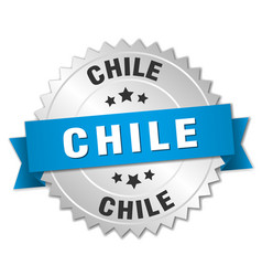Chile round silver badge with blue ribbon vector