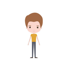 Colorful caricature thin young man in clothes with vector