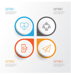 communication icons set collection of team vector image vector image