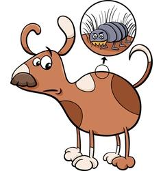 Dog and flea cartoon vector