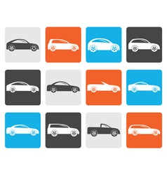 Flat different types of cars icons vector image vector image